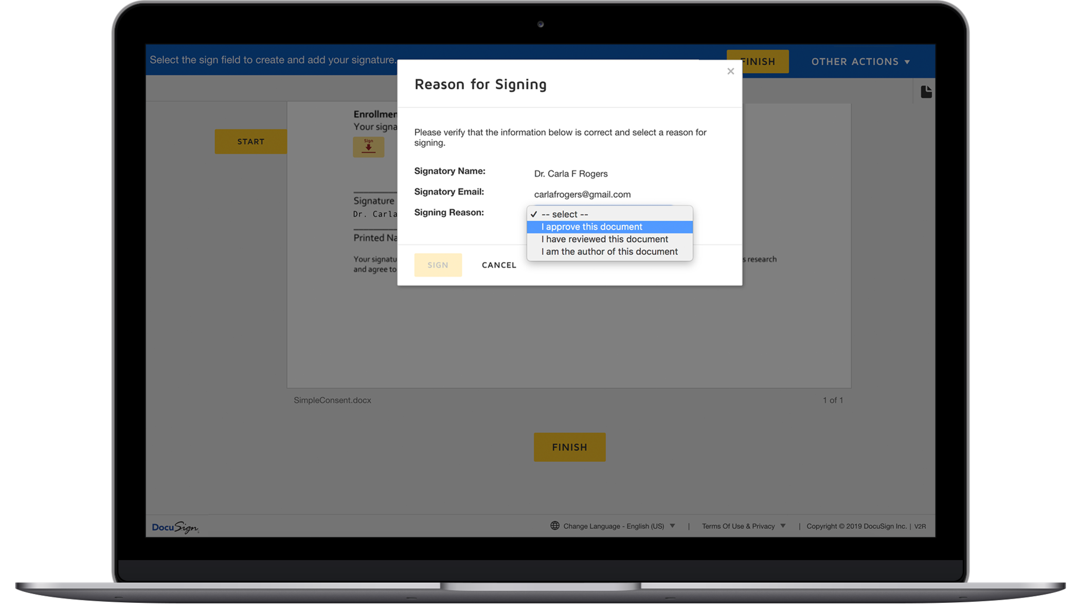 The DocuSign signing interface showing a dropdown for why a signer is signing the document.