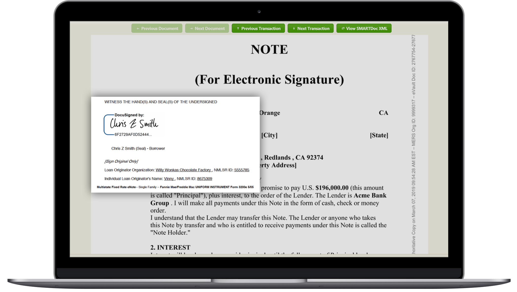 A screenshot showing a promissory note in the eNote interface.