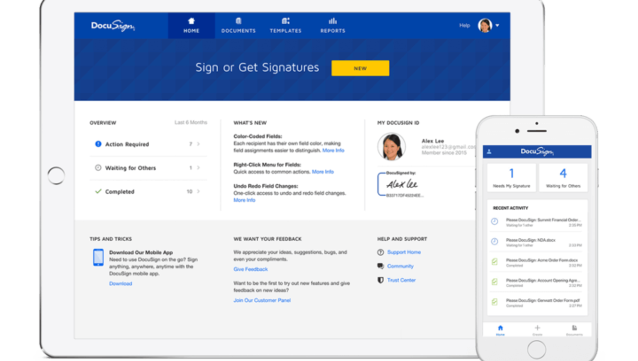 DocuSign eSignature dashboard on mobile and tablet.
