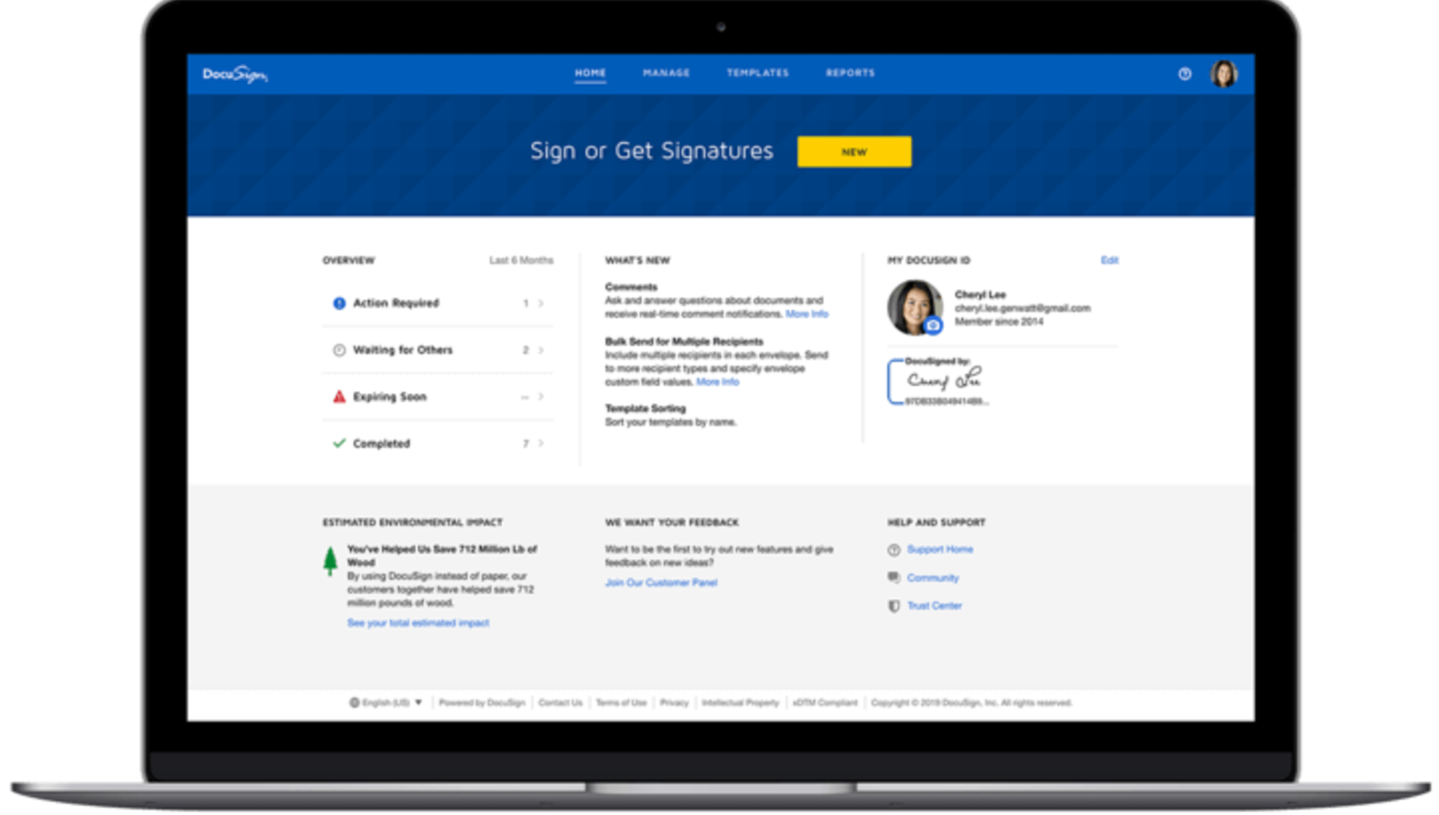 A laptop with a user logged into DocuSign's eSignature product.