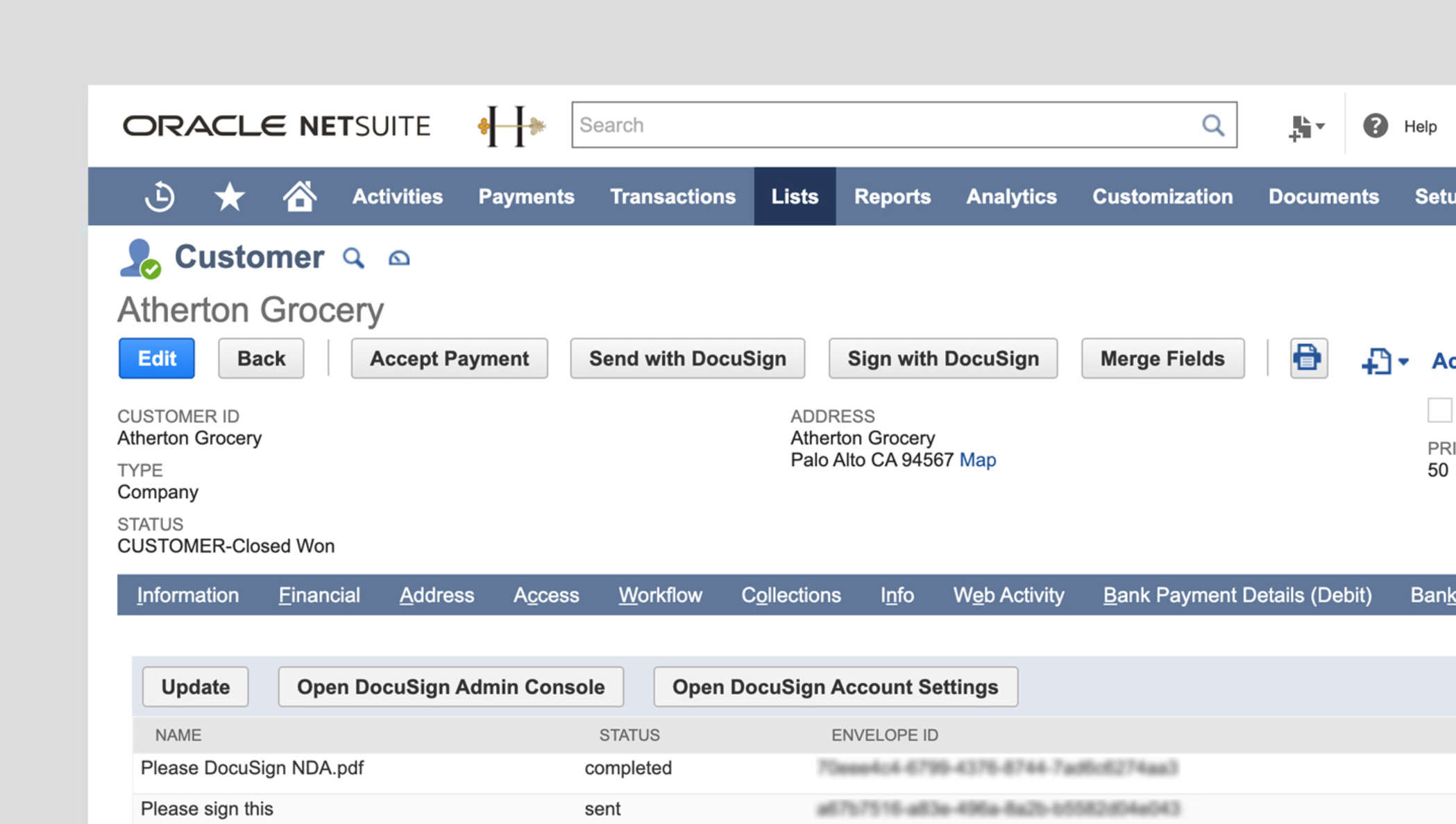 Desktop view of the eSignature for NetSuite application, showing a customer record with a custom button