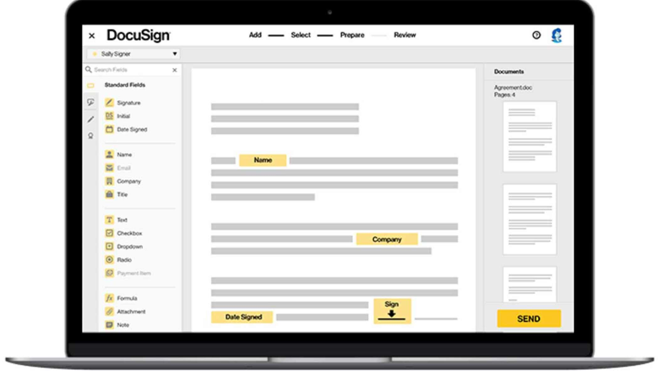 Image of signing experience on laptop