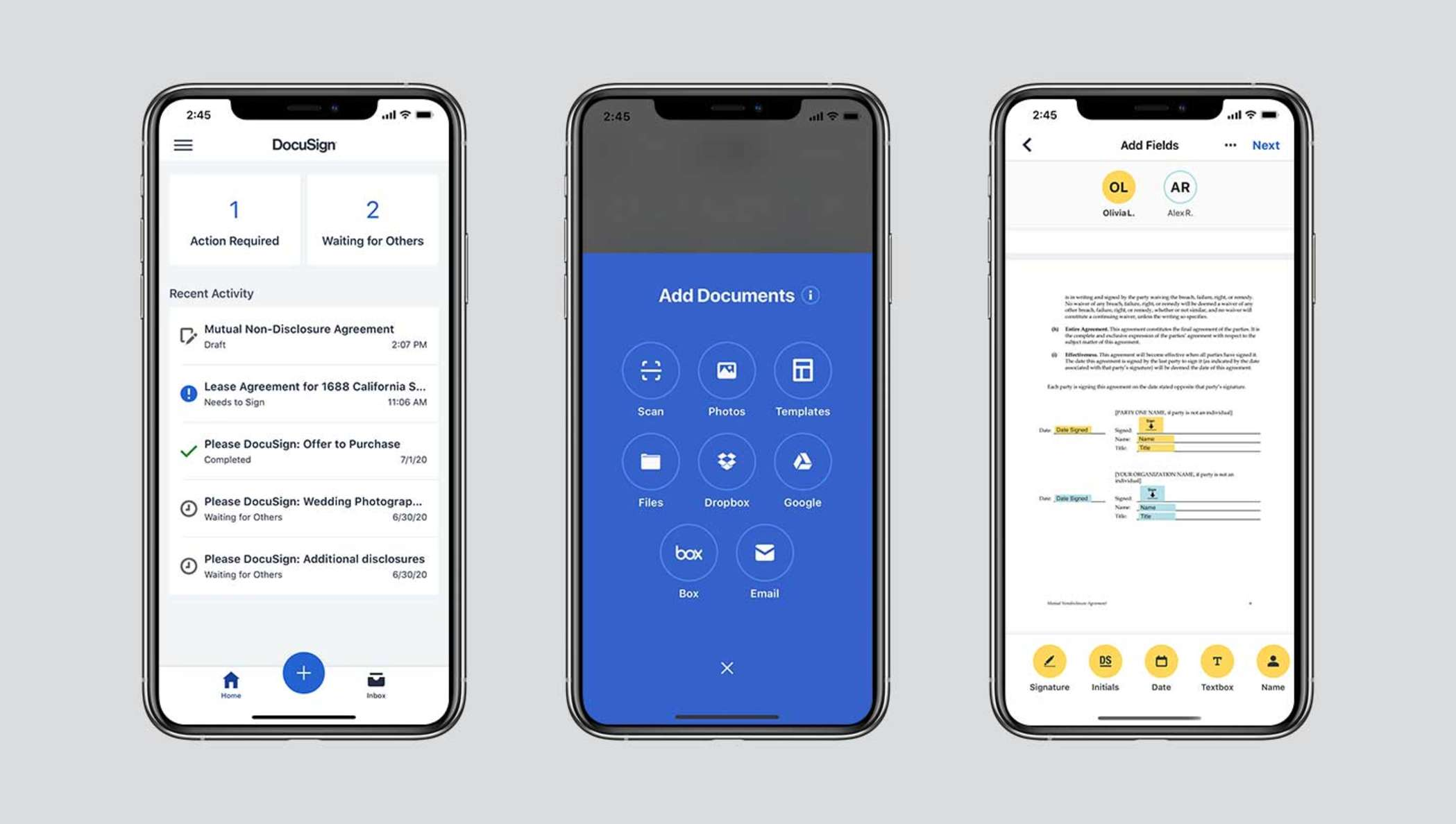 Three mobile screens showing DocuSign eSignature functionality, including the status of documents out for signature, document upload options and a document being signed