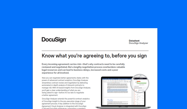 Image of DocuSign Analyzer datasheet offering a description of the key benefits and features of contract analytics.