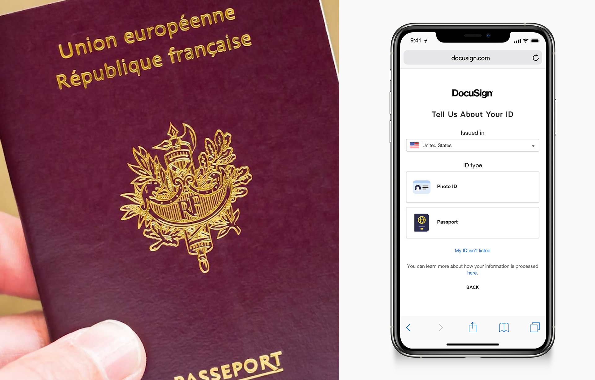 """A split image showing a hand holding a passport on the left and on the right a phone prompting to """"Tell us about your ID"""""""