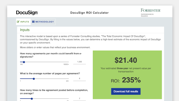 Screenshot of the ROI calculator tool
