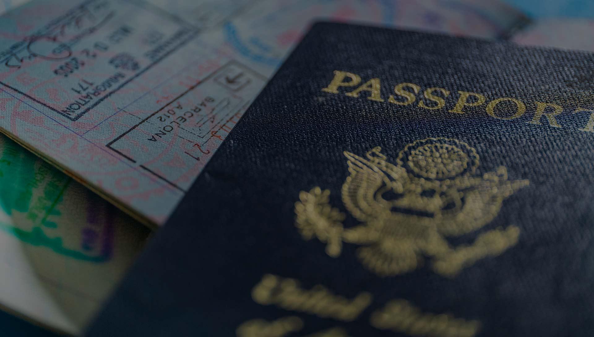 A US passport and passport stamps.